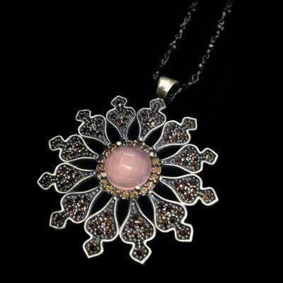 Colgante Enigma Plata Cuarzo Rosa