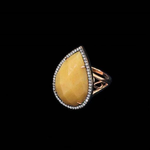 Anillo Gemstones Jade Amarillo