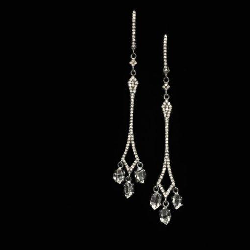Pendientes Forever Oro Negro Diamantes Topacios