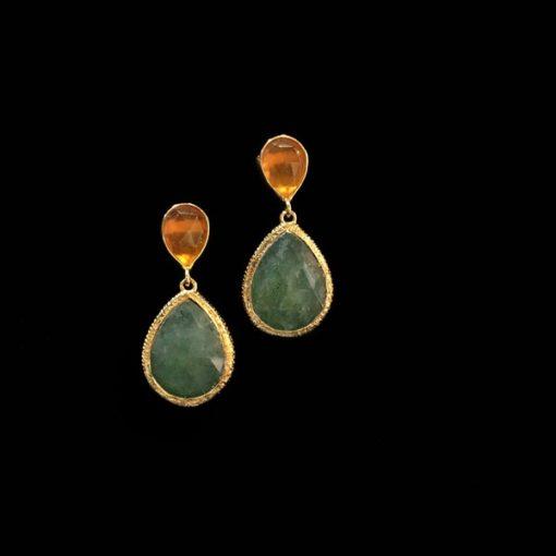 Pendientes Gemstones Esmeralda Cuarzo Naranja