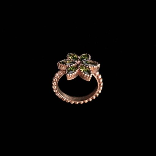 Anillo Enigma Plata Rosa Circonitas Verdes