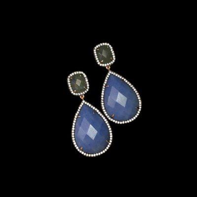 Pendientes Gemstones Labradorita Cuarzo Azul
