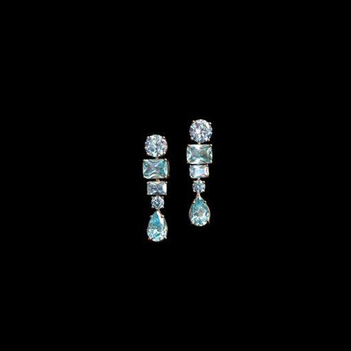 Pendientes Mosaic Plata Rosa Cuarzos Azules