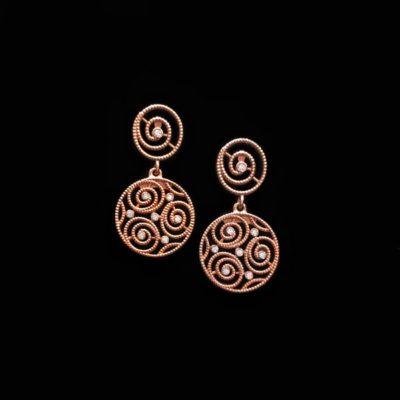 Pendientes Enigma Plata Rosa Circonitas
