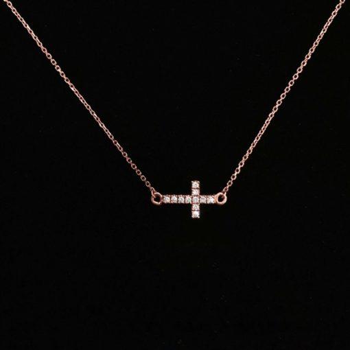 Colgante Endless Cruz Oro Rosa Diamantes