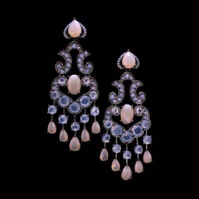 Pendientes Mosaic Plata Negra Cuarzos Azules Rosas