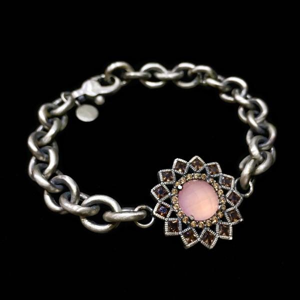 Pulsera Enigma Plata Cuarzo Rosa