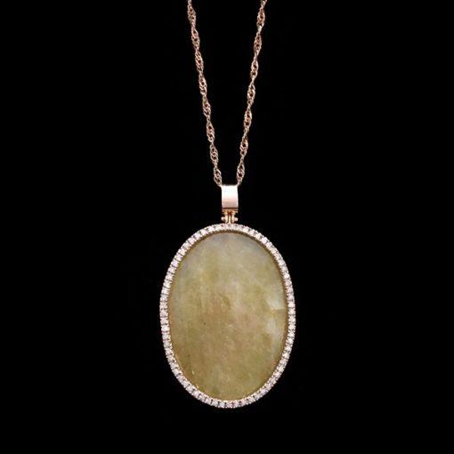 Colgante Endless Oro Rosa Diamantes Cuarzo