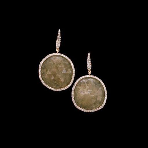 Pendientes Endless Oro Rosa Diamantes Cuarzos