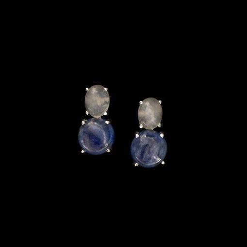 Pendientes Gemstones Cuarzo Blanco y Azul