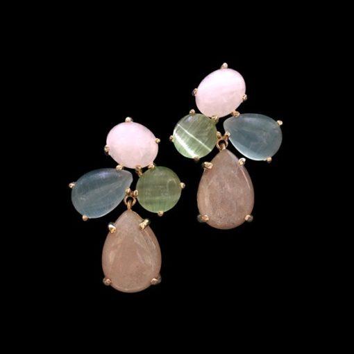 Pendientes Gemstones Cuarzos Multicolor