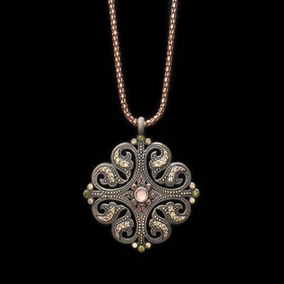 Colgante Enigma Plata Cuarzos Rosa Circonitas