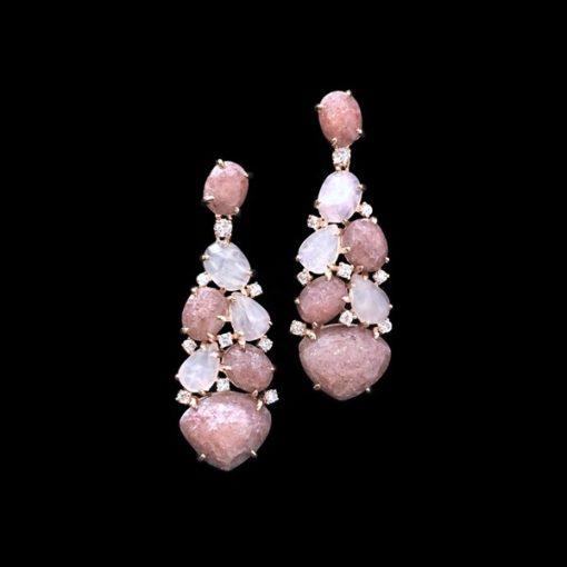 Pendientes Gemstones Cuarzos Rosa Moscovitas