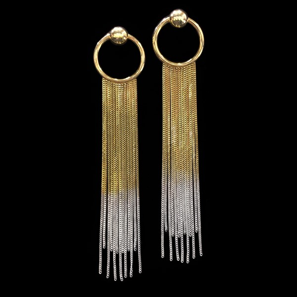 Pendientes Premium de cadenas de plata dorada y blanca