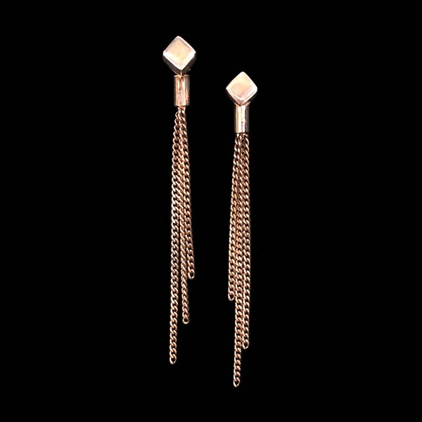Pendientes Premium de cadenas de plata rosa
