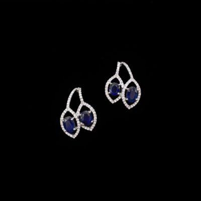 Pendientes Forever Oro Blanco Diamantes Zafiros