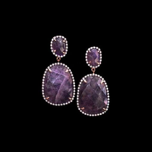 Pendientes Gemstones Plata Rosa Amatistas