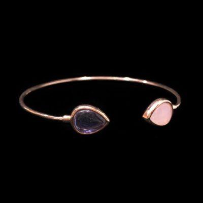 Pulsera Gemstones Cuarzos Rosa y Amatista