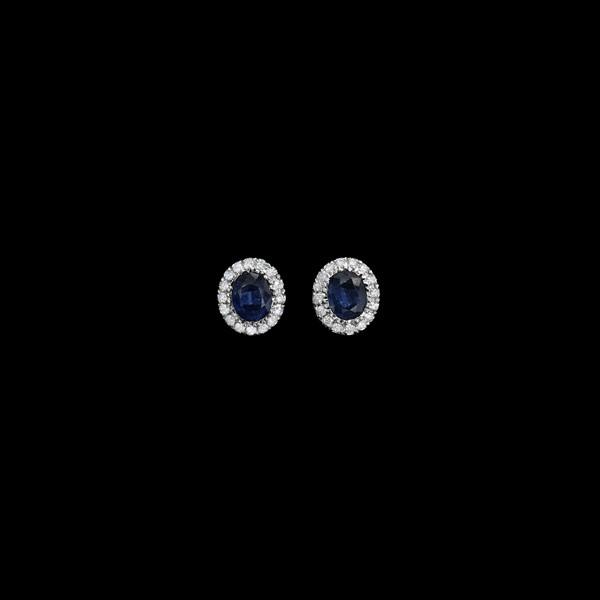 Pendientes Forever Oro Blanco Diamantes Zafiro