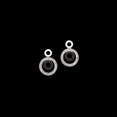 Pendientes Forever Oro Diamantes Negros y Blancos