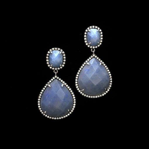 Pendientes Gemstones Cuarzo Azul