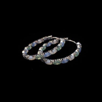 Pendientes Mosaic Plata Cuarzos Azules Verdes Aros