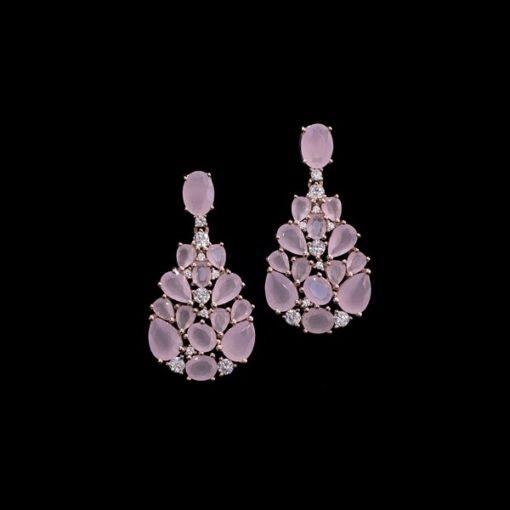 Pendientes Mosaic Plata Rosa Cuarzos Rosas