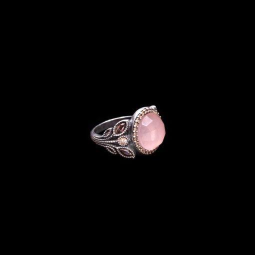 Anillo Enigma Plata Cuarzo Rosa Vegetal