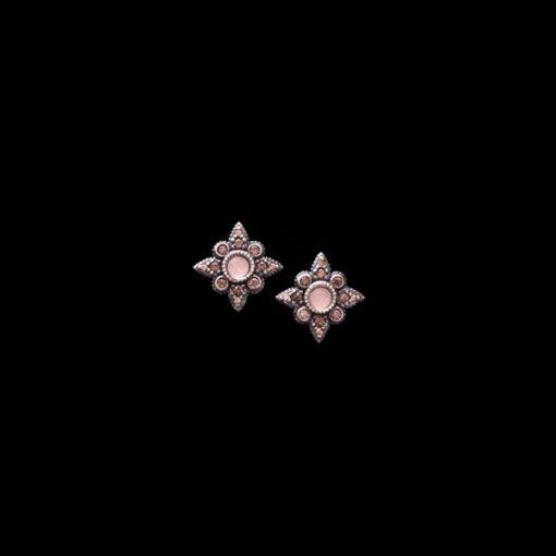 Pendientes Enigma Plata Cuarzo Rosa Vegetal