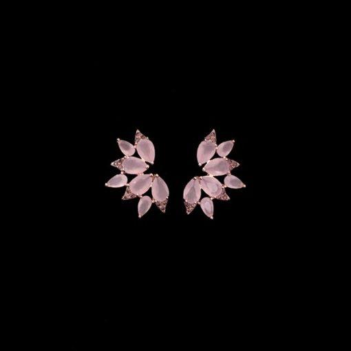 Pendientes Mosaic Plata Rosa Cuarzos Rosas Abanico