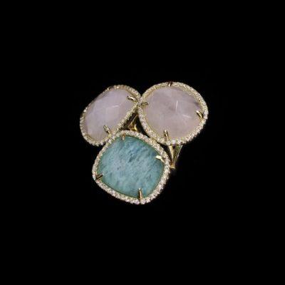 Anillo Gemstones Plata Dorada Cuarzo Rosa y Verde