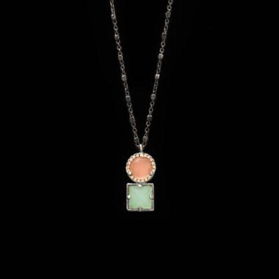 Colgante Enigma de plata, cuarzo rosa y calcedonia cuadrada