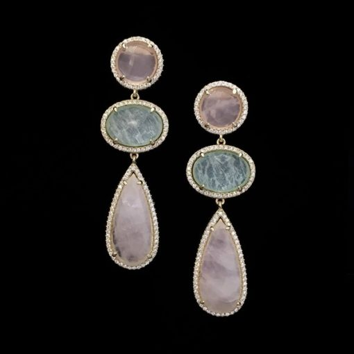 Pendientes Gemstones Plata Dorada Cuarzo Rosa y Verde