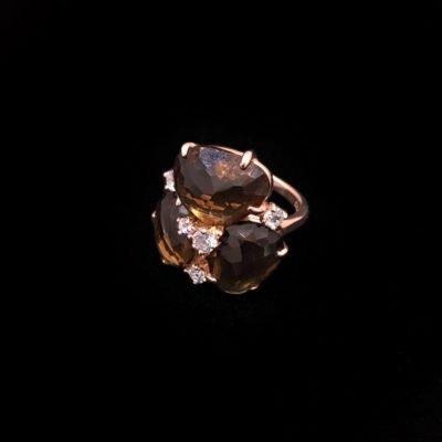 Anillo Gemstones de plata rosa y cuarzos fumé