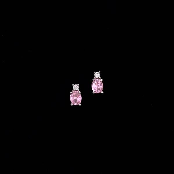 Pendientes Garden de oro blanco y cuarzo rosa oval