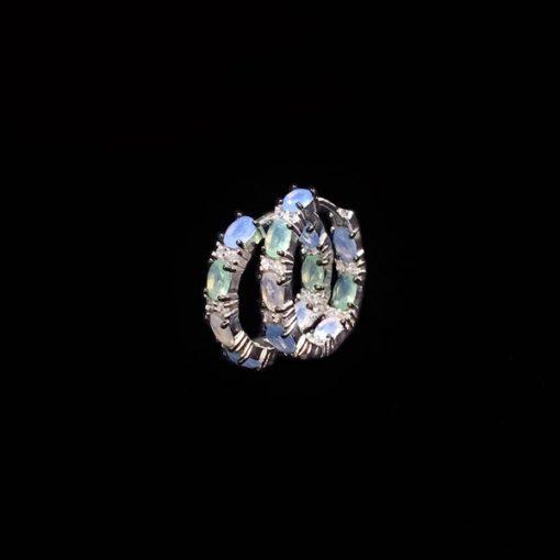 Pendientes Mosaic de plata y cuarzos verdes y azules Aros
