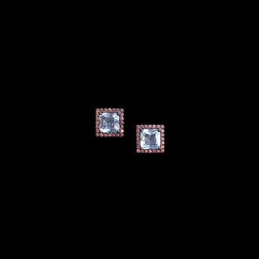 Pendientes Mosaic de plata negra y circonitas azules y caramelo
