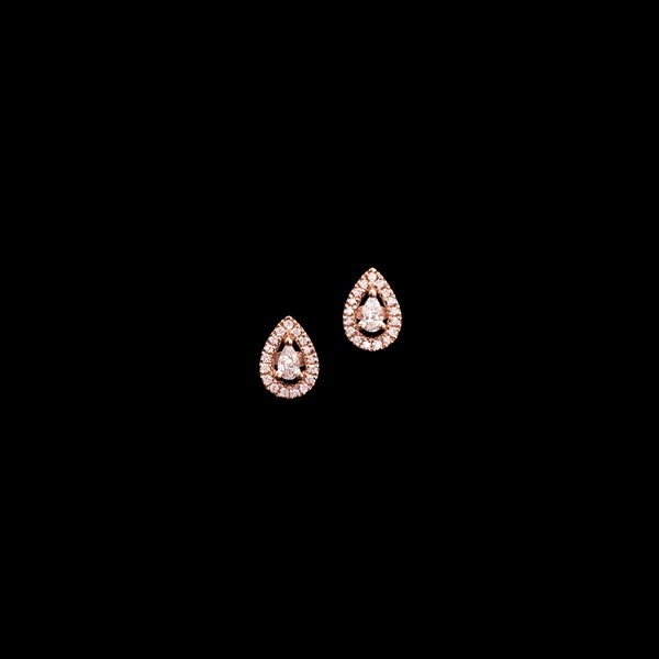 Pendientes Endless de oro rosa y diamantes Gota