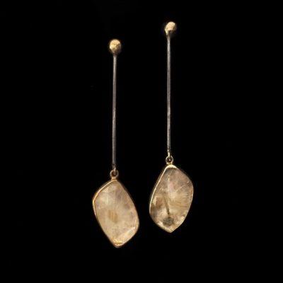 Pendientes Gemstones de plata negra y dorada y cuarzo rutilado