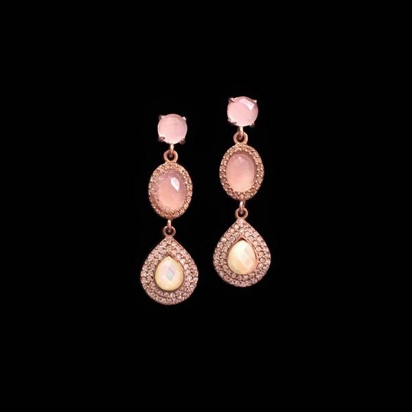 Pendientes Havana de plata rosa, cuarzo rosa y nácar