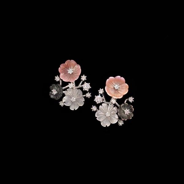 Pendientes Mosaic de plata y flores de esmalte