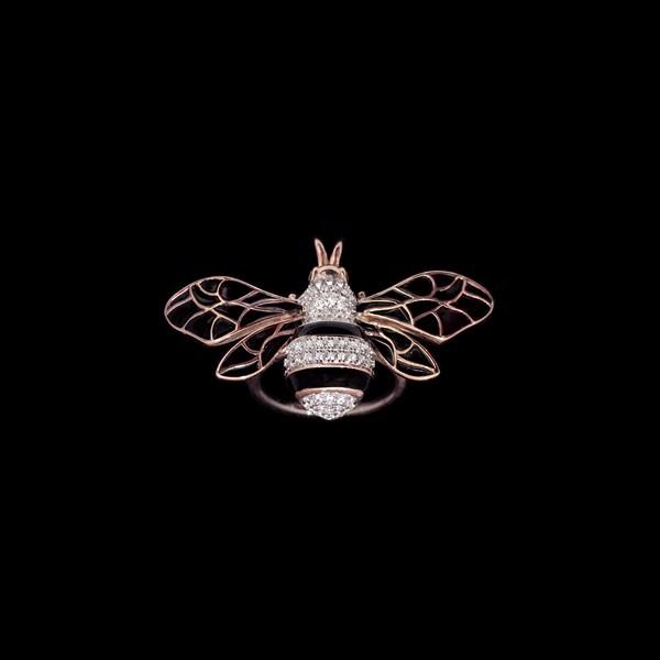 Anillo Néctar de plata rosa Abeja Reina