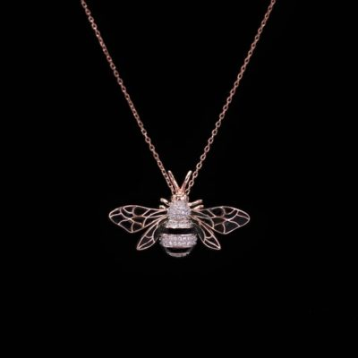 Colgante Néctar de plata rosa Abeja Reina