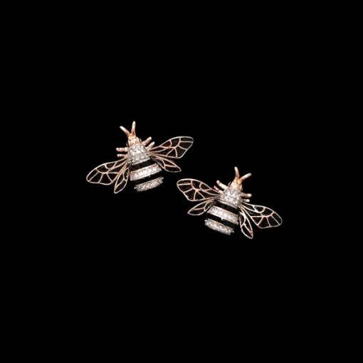 Pendientes Nectar de plata rosa Abeja Reina