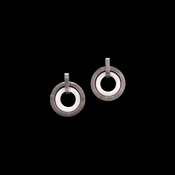 Pendientes Titan de titanio y cerámica Círculos