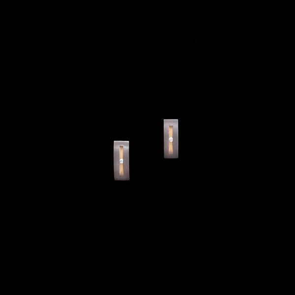Pendientes Titan de titanio y diamantes Alargado