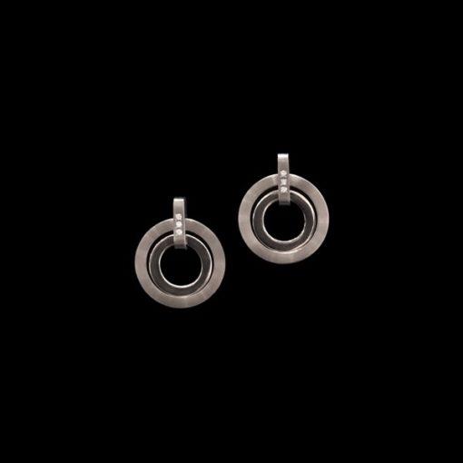 Pendientes Titan de titanio y diamantes Círculos