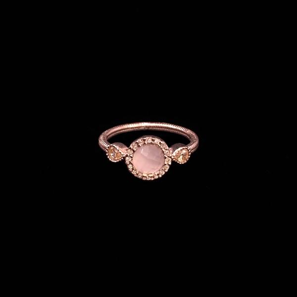 Anillo Havana de plata rosa y cuarzo rosa Mini