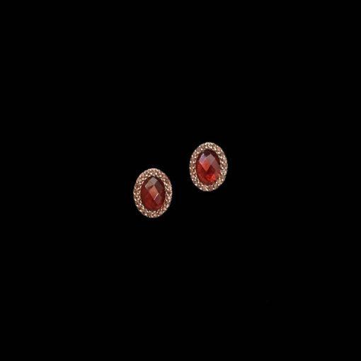 Pendientes Havana de plata rosa y granates Mini