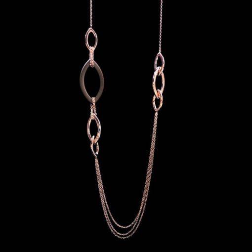 Collar Velour de plata rosa y eslabón chocolate